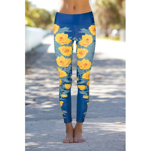 Boho Yellow Rose Leggins S/M