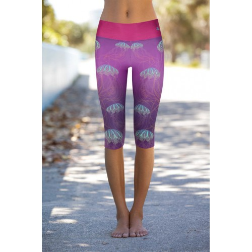 Boho Jellyfish Purple S/M Capri